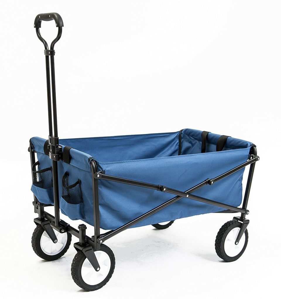 Seina-Collapsible-Folding-Utility-Wagon-Garden-Cart-Shopping-Beach-Outdoors-Blue Utility Folding Wagon