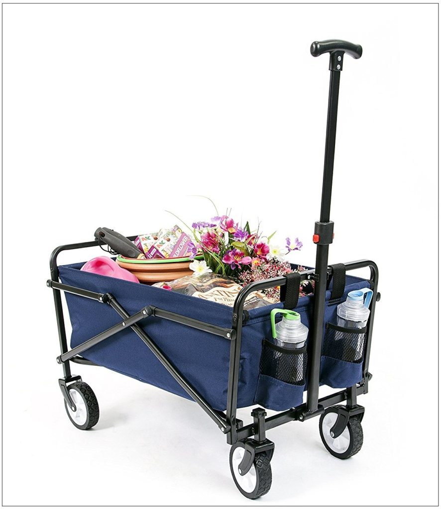 YSC-Wagon-Garden-Folding-Utility-Shopping-Cart-Beach-Red-Navy Blue