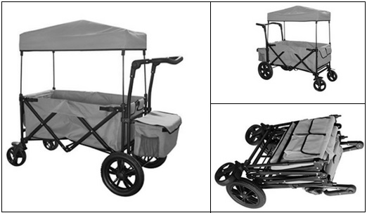 Push-Pull-Folding-Wagon-With-Canopy-Pink-Gray Push Pull Folding Wagon With Canopy